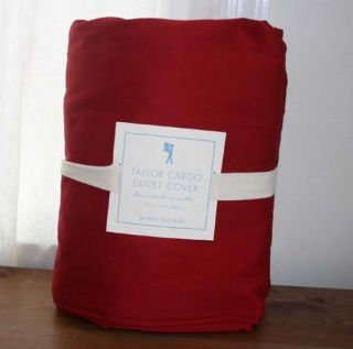 New Pottery Barn Kids Taylor Cargo Duvet Cover Twin Red