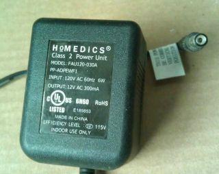 12 Volt 300mA Heating Massage Pad FAU120 030A AC Wall Power Adapter
