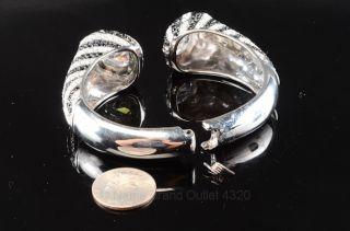 ABS ALLEN SCHWARTZ silver tone black clear crystal hinge cuff bracelet