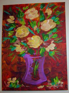 Art Modern Acrylic Painting Wall Decor Red Eugenia Abramson