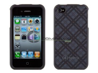 Speck Fitted Hard Black Grey Fabric Backed Case for iPhone4 4S New in