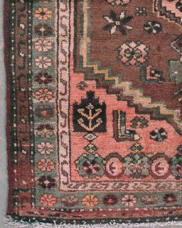 ANTIQUE PERSIAN MALAYER HAND KNOTTED WOOL AREA RUG CARPET WITH ABRASH