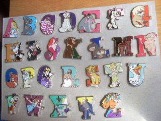 2011 DISNEY HIDDEN MICKEY ALPHABET PIN ABC SET OF 26 Letters A to Z