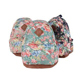 Printed Cotton Backpack School Bag Book Bag Green Beige Blue