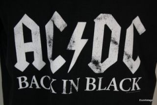 Mens Retro Vintage Black Stripe ACDC Back in Black Rock Concert T