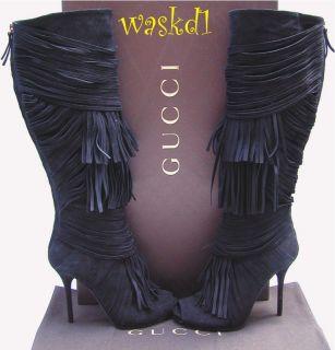 GUCCI black SUEDE fringe AKERMAN back Zip Peep Toe TALL boots NIB