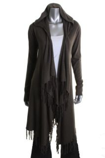 Acrobat NEW Green Silk Long Sleeve Open Front Hooded Cardigan Sweater