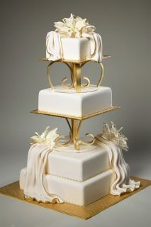 Wedding Cake Stand Heart Shaped Acrylic Handmade Gold Color for Three