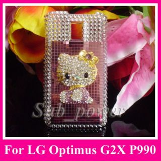 3D Rhinestone Hello Kitty Bling Case Cover for LG Optimus 2X P990 G2X