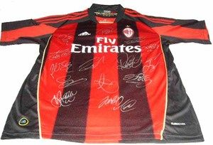 AC Milan Team Soccer Football Signed Jersey Shirt Home