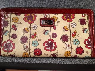 NWOT Womens Fossil Zip Around Floral Clutch Wallet/Leather Travel