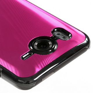 Pink Brushed Metal Aluminum Acrylic Hard Case Cover Slim Fit for HTC