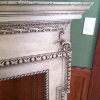 Nautical Hand Carved Wooden Fireplace Mantle Early 1900S