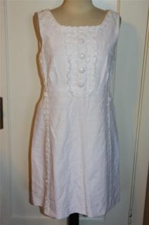 Lilly Pulitzer Adelson Jubilee White Lace Applique Shift Dress Sz 12