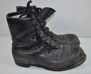 Addison Boots Vintage 60s Mens Black Leather Combat Work Boots Size 9