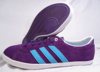 Adidas Neo Qt Court Purple Blue Suede Womens Shoes Size 8 5