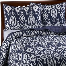 ADARA NAVY BLUE WHITE queen full QUILT 3 pc SET