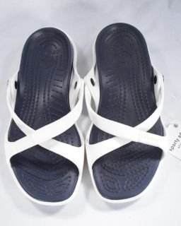White Navy Sandals Called Sporty Adara Womens Shoes Size 8