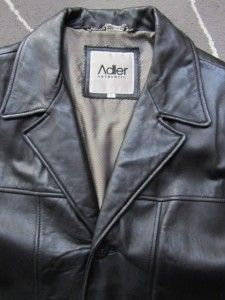 Adler Authentic Genuine Leather Soft Coat Jacket Black Blazer Mens L