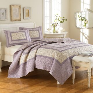 LAURA ASHLEY ADDISON PURPLE LAVENDER Queen Full Quilt Set cotton