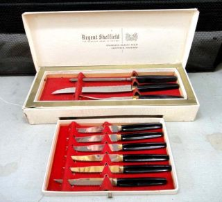 vintage Regent Sheffield Cutlery Set w Steak Knives