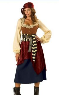 New Sexy Pirate Swashbuckler Womens Fancy Dress Costume Ladies M 10 12