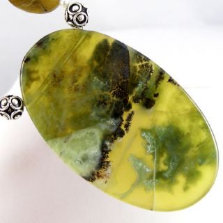 RARE Natural African Green Opal Pendant Beads Necklace