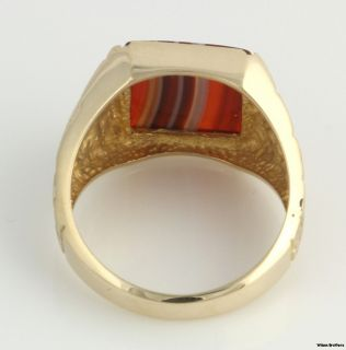 Banded Agate Mens Ring 10K Solid Yellow Gold Textured Bezel Set White