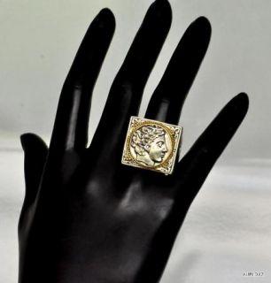 KONSTANTINO Sz 10.5 Mens Large Sterling Silver 18K Gold ADONIS Ring