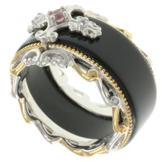 Michael Valitutti Two Tone Silver Agate and Gemstone Ring