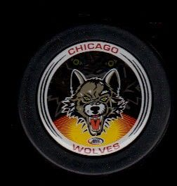 AHL Chicago Wolves Disc Inlay Official Team Logo Hockey Puck IHL NHL