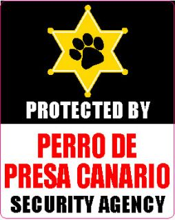 Protected Perro PRESA CANARIO Security Agency Sticker