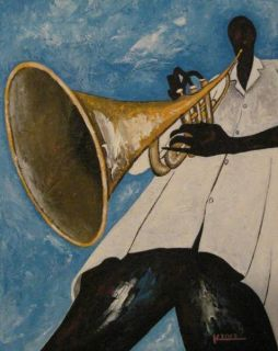 ORIGINAL AFRICAN AMERICAN JAZZ ART MUSICIAN TRUMPET MAN MUSIC PAINTING