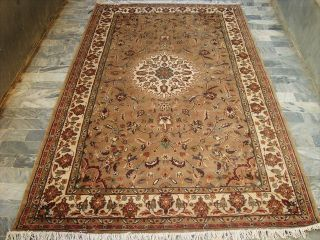 Beige Tan Floral Hand Knotted Rug Carpet Silk Wool 8x5
