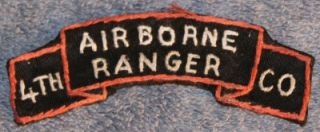 airborne ranger 4th co scroll tab patch vietnam war