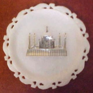 White Alabaster Miniature Plate MOP Inlay India Temple