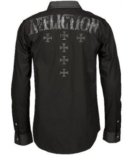 AFFLICTION MENS BLACK PREMIUM HEAT SHIELD BUTTON DOWN SIZE L SKULL
