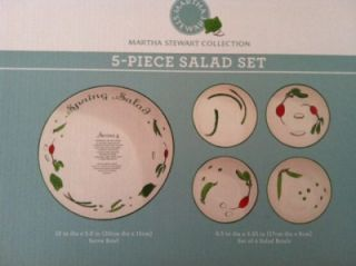 martha stewart spring 5 pc recipe salad bowl set nib