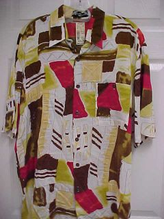 ALAN STUART DESIGNER Men Rayon Camp Shirt L NWT