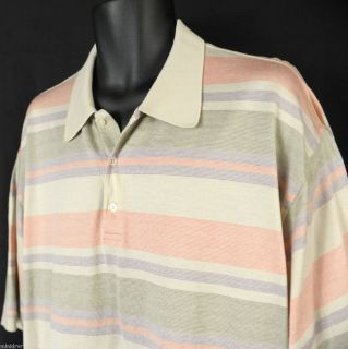 Alan Flusser Pastel Striped Mercerized Cotton Golf Polo Shirt Mens XXL