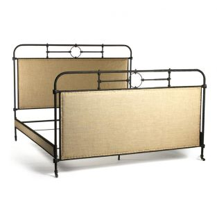 Alaric Burlap Antique Iron Industrial Rustic King Bed Frame