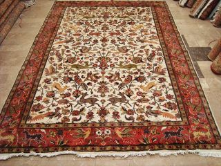 WOW RARE Deer Birds Jungle Tree of Life Hand Knotted Rug Carpet Silk