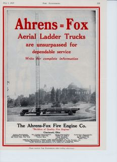 Ahrens Fox Aerial Ladder Truck for 1929 Ad