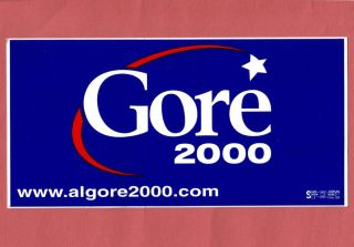 2000 AL GORE US Political Campaign Presidential bumper sticker decal