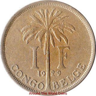 1929 Belgian Congo 1 Franc Coin Albert I KM 20