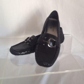Ak Anne Klein Iflex Real Leather Womens Black Flat Shoes Sz 6 5 M