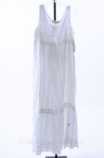 ALBERTA FERRETTI white 8 M sleeveless pleated crochet lace dress NEW