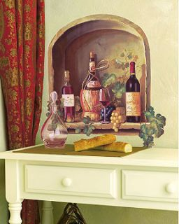 Wine Alcove With Grapes & Vines Bottles Red Wall Mural Sticker Decal