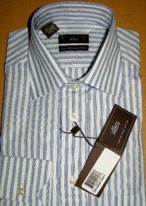 alara mens l s dress shirt blue white stripe new
