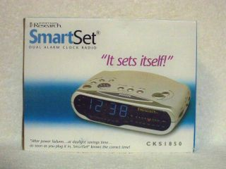 EMERSON RESEARCH CKS1850 SMARTSET DUAL ALARM CLOCK RADIO GRAY
